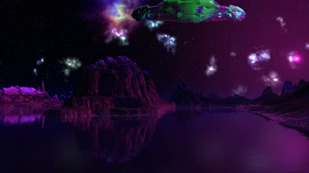 mırlamak : The Night. Lake and mountains are filled with violet light a distant star (the sun). In the dark sky bright color nebula slowly change their shape. From the depths of the cosmos appears spaceship aliens (UFO). He painted in bright colors (green, blue, pur