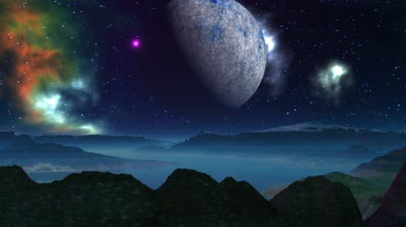 fantasia : The camera flies over mountains and open alien landscape. The hills, standing among the water, covered with a white mist. Above the horizon in the night dark sky, studded with bright zvedam slowly rotates huge planet (moon). The bright color nebula slowly Vídeos
