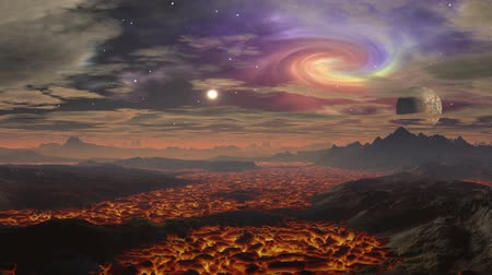 lírios : Between the hills slowly burning hot lava flows. Above the surface of the gray haze. In the dark starry sky float low heavy clouds. In the distance, the sun shines brightly. Colored spiral nebula is visible from behind the clouds. A small planet moon is l