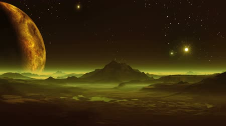 alienígena : The huge planet rises above the fantastic alien landscape.