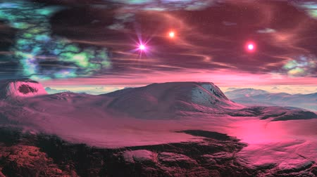 surrealizm : Mountain plateau covered with snow. Bright Star quickly rises over the misty horizon. The starry night sky colored nebula and bright pink star and rare wavy cloud. The whole landscape is painted pink light rising star. Wideo