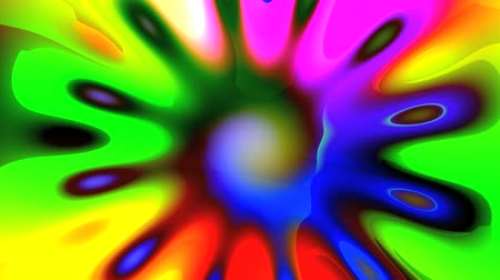 harmonia : Bright colored mandala in the form of a spiral rotates on a bright colored background and turns into a flower.