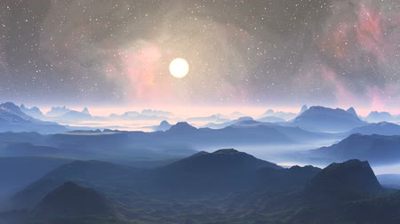 nebulosa : Bright sun quickly flying through the starry sky on the background color changing nebula. Beneath the mountains, hills and lowlands, covered with a thick fog. The sky light haze. The horizon is covered with bright glowing mist.