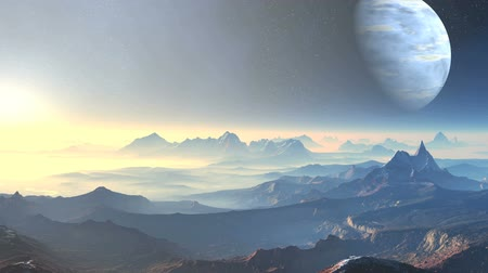 valleys : The starry night sky is a huge blue planet. Along the misty horizon moves the bright sun. Mountains and valleys covered in dense fog. The bright light of sunset colors the landscape in pink hues. Stock Footage