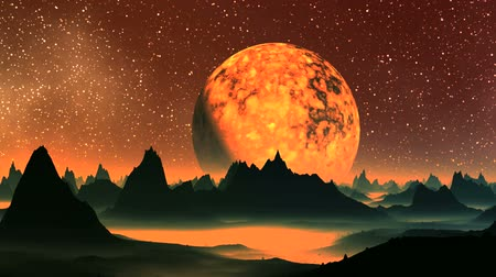 alienígena : Sunrise Fiery Planet. Huge burning hot planet (sun) slowly rises from behind the mountains alien planet. On its surface fluid stains. In the dark sky a myriad of bright stars. Horizon and lowland of landscape covered with bright orange luminous mist.