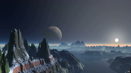 abyss : Sunset over Alien Planet. Bright sun in a halo. On a dark starry sky. High snow-covered rocks with sharp peaks stand among the foggy lakes. Stock Footage