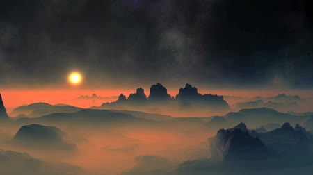 abyss : Sunset and Nebula. Bright sun in a golden halo. Mountains are among the thick orange fog.
