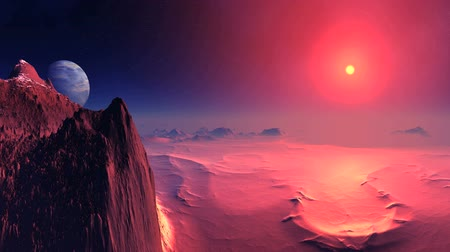 abyss : Bloody Sunset on Alien Planet. In the dark starry sky. The bright red sunsets behind a misty horizon, coloring the rocky desert landscape in the blood-red tones.