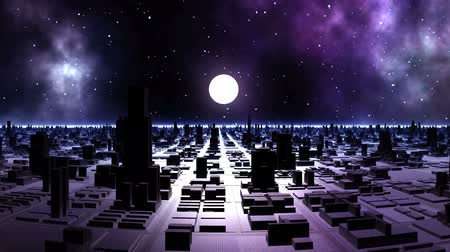 abyss : Sunset in the Alien City. The streets of the city are flooded with purple light. In the dark starry sky, huge nebulae. The bright white sun goes down to the hazy horizon.