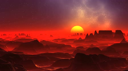 Red Fog on the Alien Planet. Dark rocks standing among a thick red glowing fog. A large bright yellow sun rises above the horizon. In the dark starry sky a blue glowing nebula.