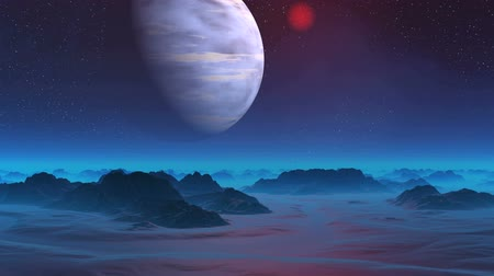 Gas Giant in the Sky of Alien Planet. The huge blue planet slowly rotates in the dark starry sky. The blue mist covers the mountains and plains. A bright red object slowly flies across the sky.