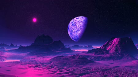 Purple Alien Planet. In the dark starry sky, a large planet in the penumbra and a bright purple sun. The rocky desert is flooded with lilac light, in the lowlands a dense whitish fog. Wideo