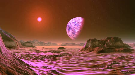 Pink Sunrise on Alien Planet. A large planet (moon) slowly rotates on a dark starry sky. Over the misty horizon, a bright pink sun. Desert and rocks are painted in pink.