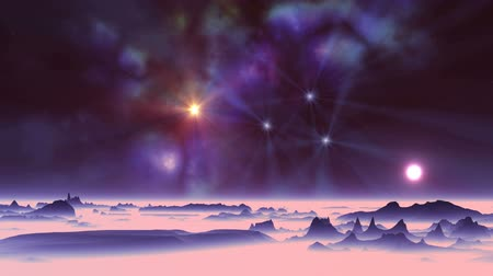 abyss : Sunset and Colorful Nebula. In the vast dark sky, colorful nebula and bright radiant stars. White sun in a halo slowly sinking in the thick pink. Stock Footage