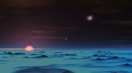 gerçeküstü : Falling UFO. White luminous object slowly falls to the surface of an alien planet. In the dark sky a bright star, the setting sun above the horizon and rare clouds. Dark hills are covered with a dense blue mist.