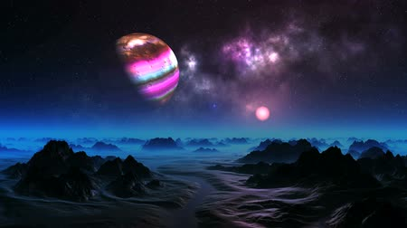 Colorful Moon over Alien Planet. There is a big nebula on the dark starry sky. Slowly the colorful planet rotates. Bright pink sun rises. Dark rocks and riverbeds are covered with thick glowing blue mist.