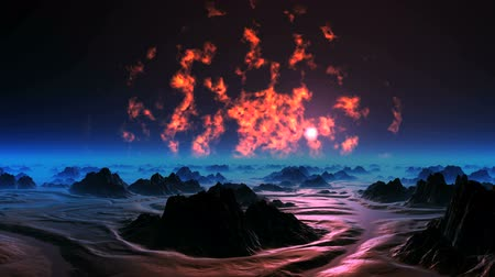 The Burning Sky of Alien Planet. On dark sky flame burns. Over the hazy horizon bright sun. Dark rocks stand in the thick blue mist. The surface reflects a bright red light of the flame.