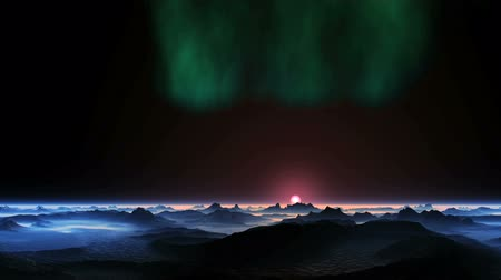 Aurora Borealis over an Alien Planet. On the dark sky shimmers in green northern lights. Slowly rising bright pink sun over a misty horizon. In the lowlands of the dark mountains. Surface reflects bright light of the sun.