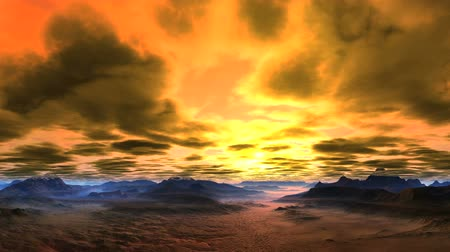 Bright, Passionate Sunset. Bright sun floods the sky with pink and orange light. Dense, heavy clouds. Dark mountains standing among a dense pink mist. Wideo