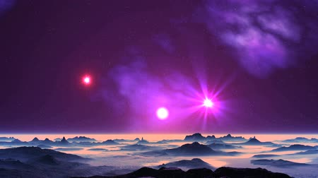 UFO and Sunrise on Alien Planet. Bright glowing object (UFO) flies quickly through the dark starry sky. In the sky the sunrise, a bright radiant star, a nebula. Dark mountains stand among the pink fog. Wideo