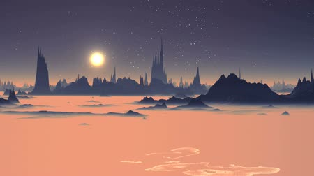 Sunrise over the Alien Foggy Planet. Dark rocks are among the thick pink fog. A bright sun. On the dark sky bright stars shine. Wideo