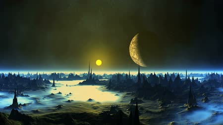 Sunset and the Moon over Alien Planet. On the dark starry sky. The moon in the penumbra. Gloomy cliffs with sharp peaks stand among the dense blue glowing fog.
