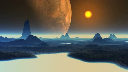 Huge Alien Planet and Sunset. On a dark starry sky. Dark hills. In the lowlands a thick white glowing fog. The horizon is covered with white mist.