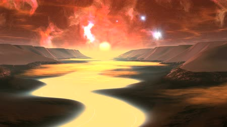 gerçeküstü : Flight over Alien River. The river bed is filled with white luminous fog. In the distance a bright setting sun. Over the horizon emerge bright glowing objects (UFOs). In the star sky, bright red nebula and clouds.