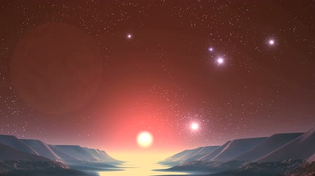 UFO, Sunrise on Alien Planet. On a dark starry sky huge planet (moon). From it fly bright luminous objects (UFO) and cross the sky. A bright sun rises over a river covered with luminous fog.