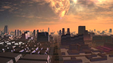 Huge Moon over Alien City. Tall pink city skyline It appears slowly in the starry sky. Slowly floating clouds. A bright light illuminates the city.