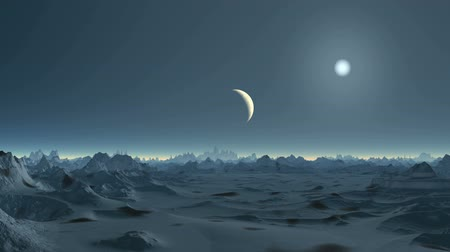 Moonset on Alien Planet. The bright sun in the sky. Mountains and lowlands are covered with snow. Above the horizon glowing white fog.