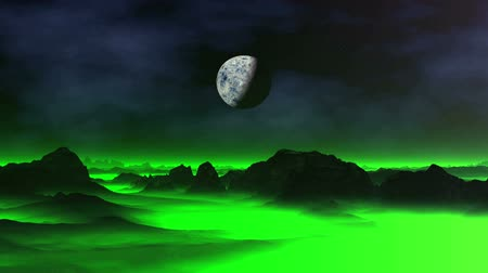 Green Mist over Alien Planet. In the dark star sky, nebulae and the big planet (moon). Dark cliffs and lowlands covered with green luminous fog.