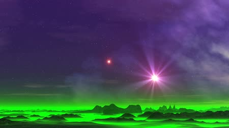 Two Stars over the Misty Planet. Nebula and two bright radiant star. Rare clouds float slowly. Dark cliffs are among the green glowing mist.