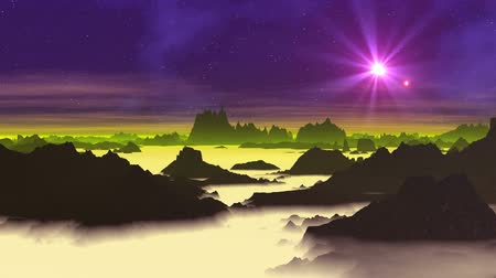 Star (UFO) over Alien Planet. A bright object (UFO) quickly flies across the dark purple sky. Rare clouds are slowly Dark cliffs rise from the milky mist.