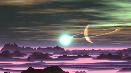 leylak : Sunrise Over Alien Planet. Dark cliffs stand among thick lilac fog. A bright white sun in a blue halo slowly rises over the horizon. In the starry sky, the planet is surrounded by rings. Slowly floating colored clouds.