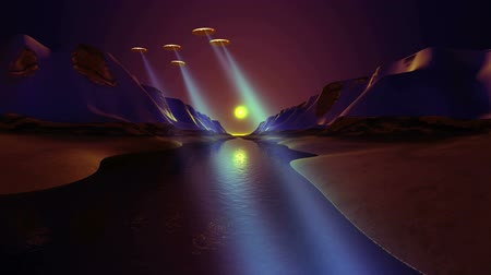 abyss : UFO Fly Over The River. Blue sky light rays. The sky is bright reflected in the river. Stock Footage