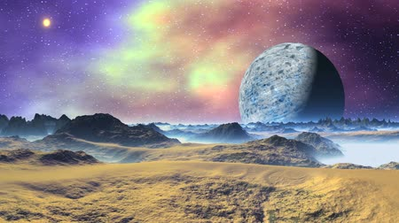 сказка : Alien Moon and Nebula. The starry sky colorful nebula and bright sun. The blue planet (moon) slowly flies away. The mountains and the desert are brightly lit. In the lowlands thick white fog.