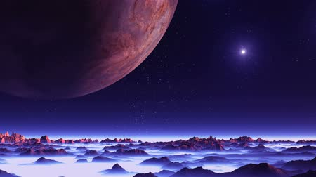 Two Moons and the Sun over Alien Planet. Moons and a bright sun. Mountains and hills stand among thick white fog. The landscape is filled with purple light.
