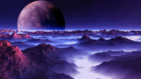 Alien Moon over the Misty Planet. A large planet (moon) slowly rotates on a dark starry sky. The desert mountain landscape is filled with violet light. In the lowlands thick white fog. Wideo