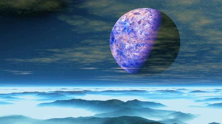 gerçeküstü : Purple Moon over Blue Planet. Huge purple planet flying through the starry sky. Slowly transparent clouds float. Desert blue hills covered with dense white fog. Stok Video