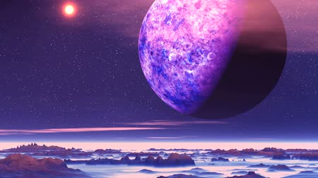 Alien Planet above the Clouds. In the dark starry sky low clouds float. Above them flies a huge planet (moon). The mountains are covered with thick white fog, among which are dark rocks. Wideo