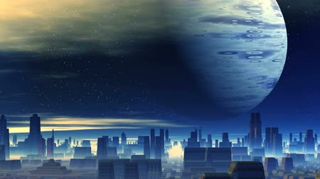Huge Planet over Alien City. In the city of thick white fog. In the dark starry sky, a large planet, slowly floating clouds. All filled in blue light.