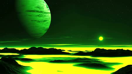 Toxic Planet. Bright sun quickly sets in a yellow mist. In the dark sky, a huge green planet. Low clouds float above the misty horizon. In the lowlands of the dark mountains is yellow-green fog. Wideo