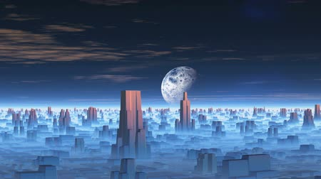 Moon over Alien City. In the dark starry sky appears planet. Under her alien city. Between the buildings and a thick white mist. In the sky pink clouds. Wideo