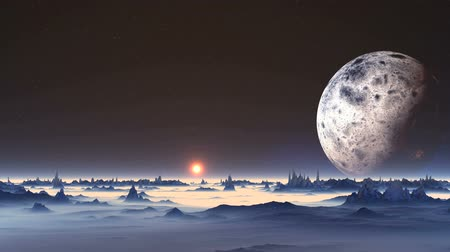 Sunrise on Alien Planet. In the dark starry sky huge planet. A bright orange sun slowly rises from the misty horizon. Blue rocks stand among thick white mist.