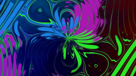 Abstract Changing Flower 2. Bright flower colors. It rotates slowly and flickering on the dark background. Wideo