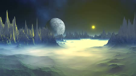 Mysterious Alien Planet. A bright yellow sun rises over a rocky foggy planet. In the dark star sky over the horizon. The fog slowly dissipates. Wideo