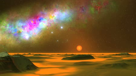 Beautiful Nebula and UFO. On a dark starry sky great colorful nebula. Bright blue objects (UFOs) quickly fly over the alien desert. Thick orange fog lies in the lowlands and on the horizon. In the distance a bright orange sun. Wideo