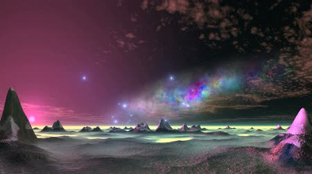 Beautiful Nebula and UFO over an Alien Desert. On a dark starry sky great colorful nebula. Bright blue objects (UFOs) quickly fly over the alien desert. In the lowlands and above the horizon is yellow fog. The bright sun sets. Slowly floating clouds.