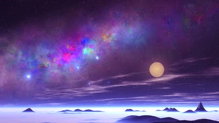 Beautiful Nebula and UFO over an Alien Planet. On a dark starry sky great colorful nebula. Bright blue objects (UFOs) quickly fly over the alien desert. In the lowlands and above the horizon is blue fog. The bright sun sets. Slowly floating clouds.